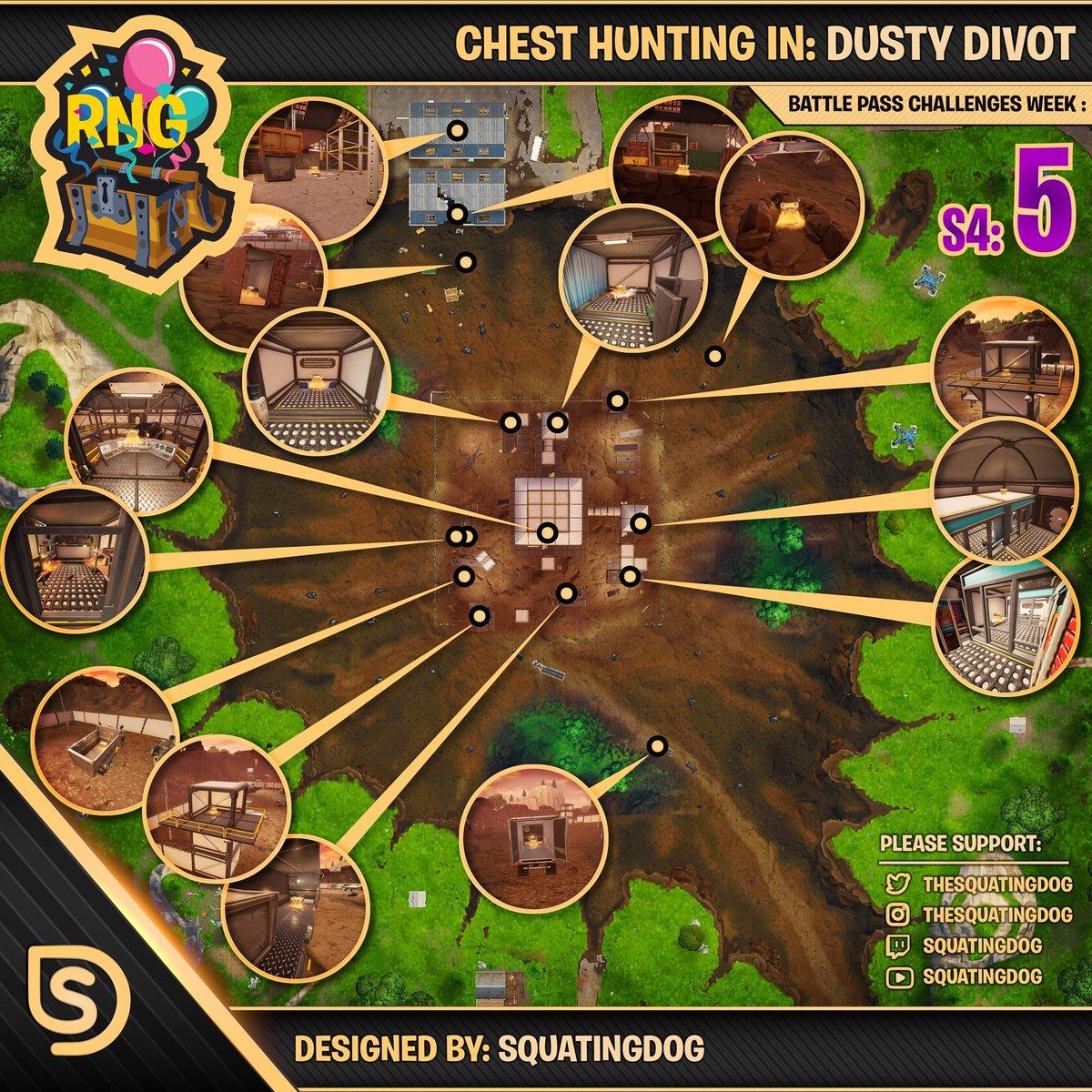 Season 4 Week 5 Chest Locations Dusty Divot Wheel Of Fortnite