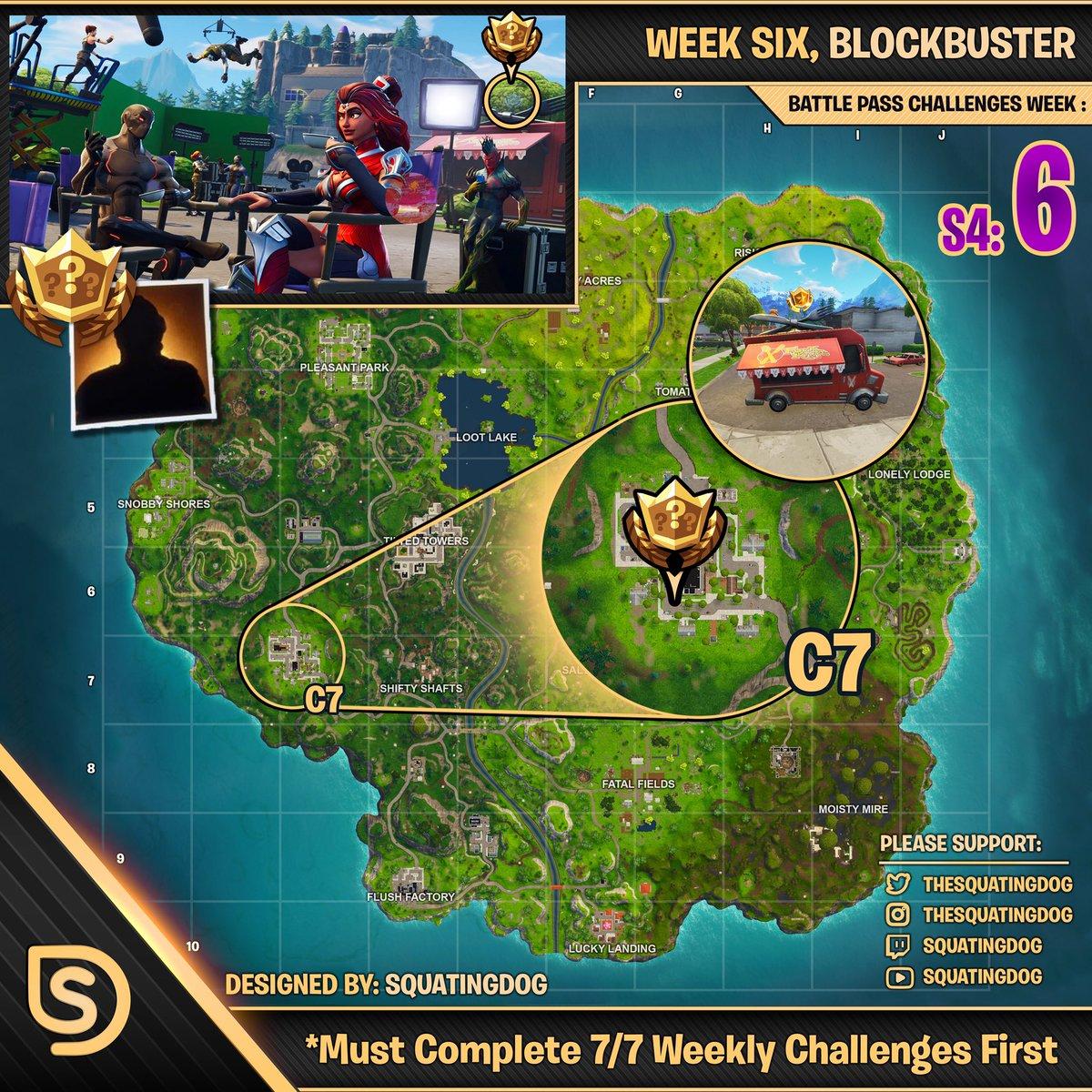 Season 4 Week 6 Blockbuster Challenge Map Wheel Of Fortnite