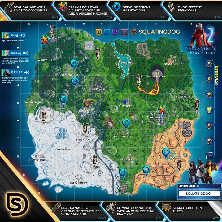 Fortnite season x 10 battle pass week 2 cheat sheet