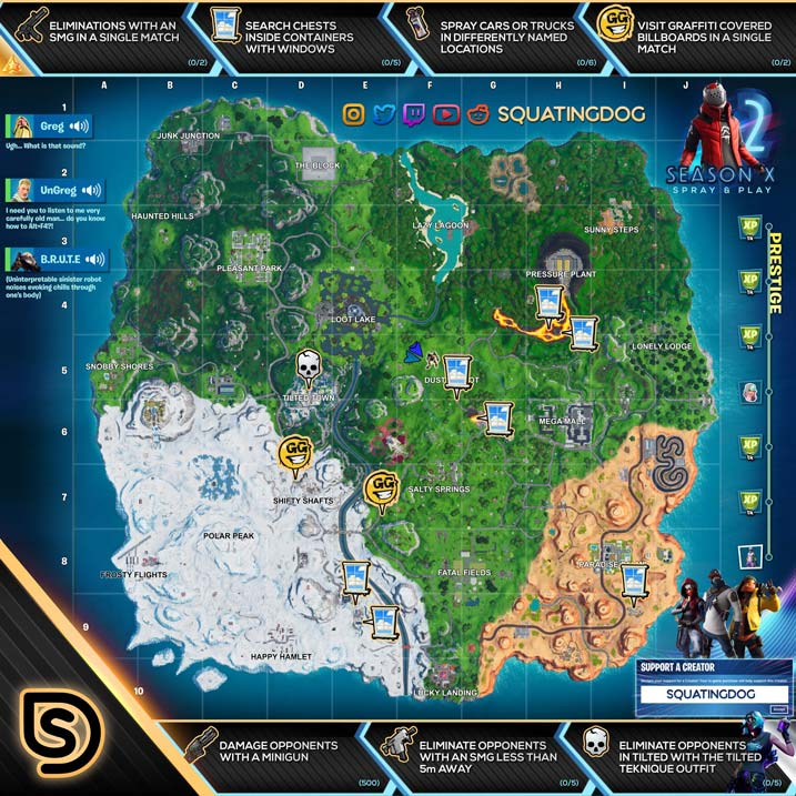 Fortnite season x 10 battle pass week 2 cheat sheet prestige